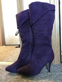 pair of purple suede heeled boots Steinbach, R5G