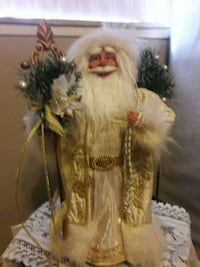 GOLDEN SANTA PORCELAIN FIGUERINE/WITH STAFF OF PEACE FLEUR DE LIS/SYMB