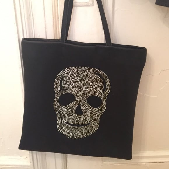 New Kimberley Model crystal skull black tote bag.