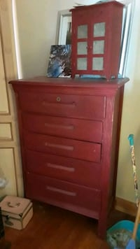 Red dresser with key antique hole in drawers Monroe, 10950