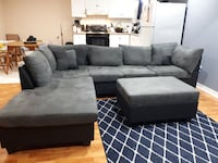 gray suede sectional sofa with ottoman Brampton