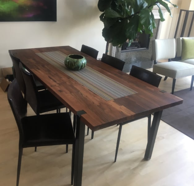 Sold Farm Table 6 Leather Chairs In