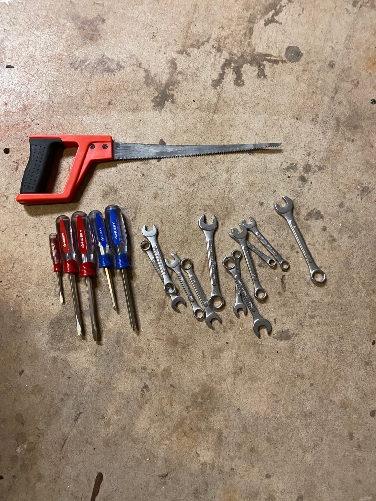 Photo Tools husky screw drivers wrenches and sheet rock saw