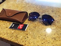 black framed sunglasses with case 47 km