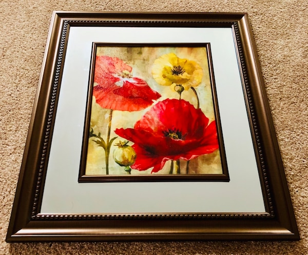 Used Interiors By Design Framed Art W Mirror Trim Portrait For Sale