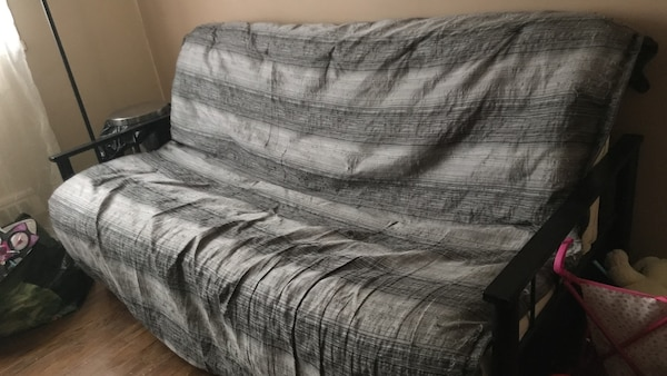 Gray And White Striped Futon