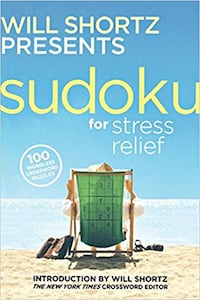 "Book ""Sudoku for Stress Relief"" 100 wordless cross Henderson"
