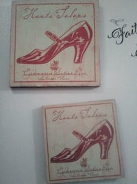 two Mary Jane strap kitten shoes paintings