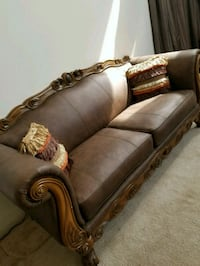 brown wooden frame brown padded sofa Clinton, 20735