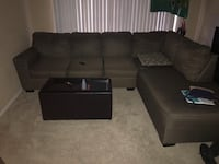 Black suede sectional couch with ottoman 1164 mi