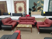 No credit needed ruby and black faux leather sofa loveseat and chair 3pc College Park