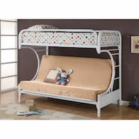 C Style Twin Over Full Futon Bunk Bed - White Mansfield