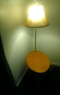 End table, lamp and magazine rack all in one
