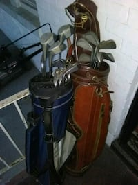 brown and blue golf clubs $35