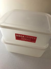 Two white plastic containers