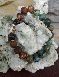 brown and gray beaded bracelet