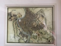 Antique Colored Map of Rome - Modern 1980's colored map of Rome Edmonton