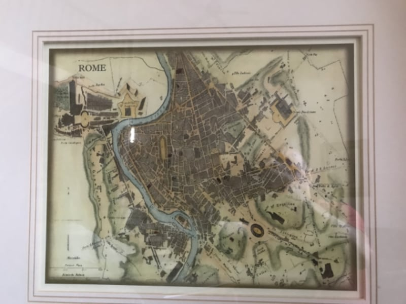 Antique Colored Map of Rome - Modern 1980's colored map of Rome 38160e36-785c-403b-ada7-cd23f4713d0a