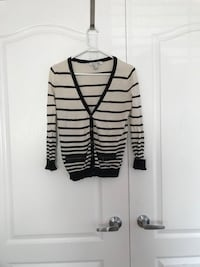 gray, white, and black striped printed sweater Vaughan