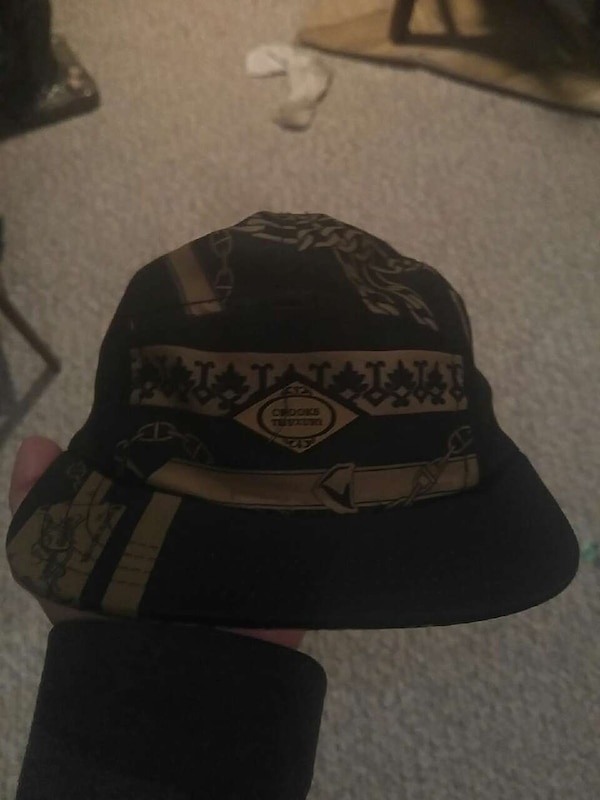 black and brown fitted cap