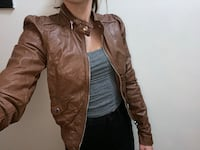 Women's Brown faux Leather jacket size 4 brand new