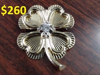 "NATURAL DIAMOND 4 LEAF CLOVER 1"" BROOCH PIN REAL 14k YELLOW GOLD 7g (GP1015985) Athens"