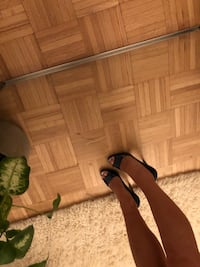 Pair of blue Prada patent leather open-toe heels New York, 11223