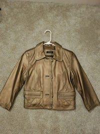 Matallic Brown Button-Up Leather Jacket  23 mi