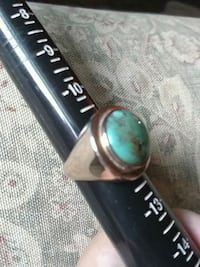 Solid gold mens turquoise ring