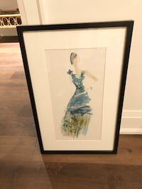 Black framed print of watercolour lady