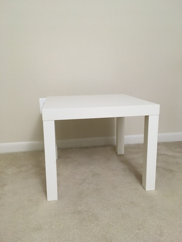 white wooden side table with drawer