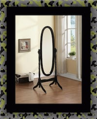 Black swivel oval mirror McLean