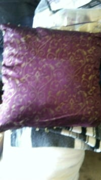 Burgandy& gold pillow with crystals