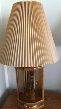Brown wooden base white shade table lamp Great Falls, 59401