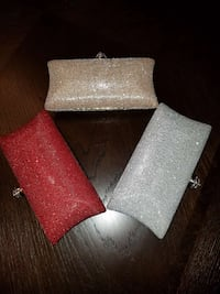 Brand New Red, Silver and Champagne Clutches.  Chesapeake, 23322