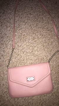 pink leather crossbody bag with silver link bracelet Milford, 06460