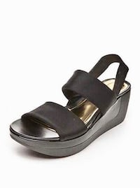 Pair of black leather open toe wedges Edmonton, T5N 1N3