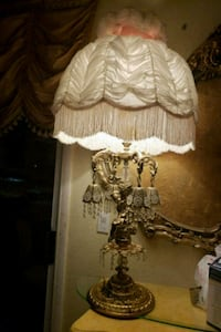 white and brown floral print table lamp North Las Vegas, 89032