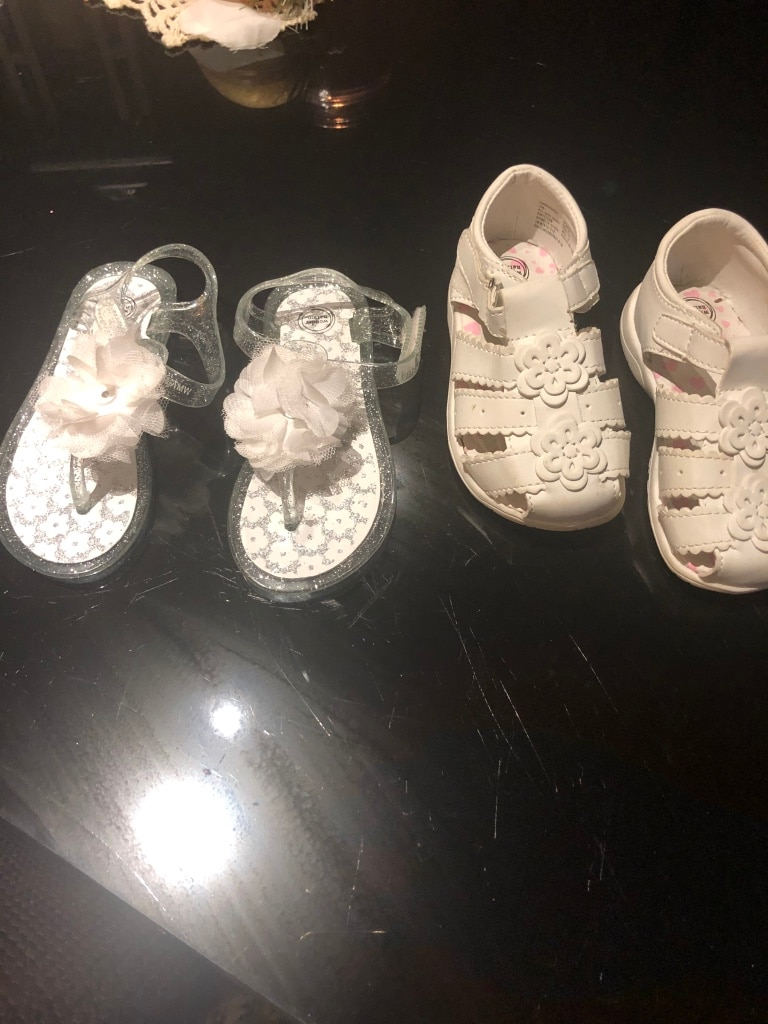 Photo Toddler girl shoes 5 each or both for 10 size 6 never worn