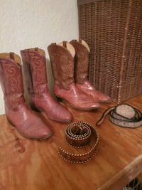 Reptile skin boots and 1 belt other belt is handmade boots are 13AA Oklahoma City, 73142