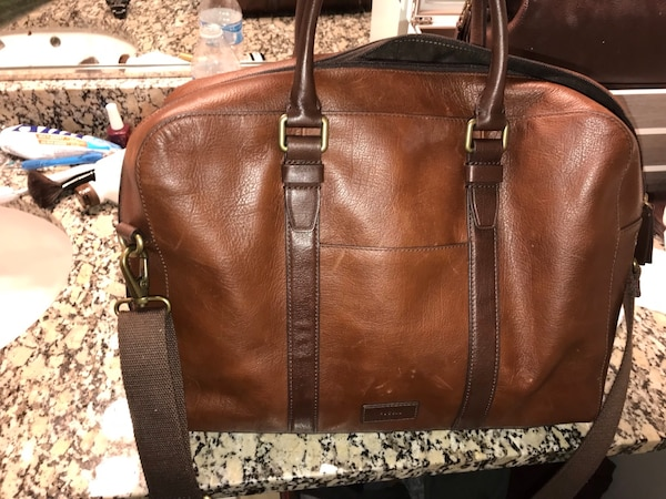 3b599604fff0 Used Fossil. Genuine leather Brown leather 2-way handbag for sale in ...