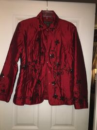 red floral button-up suit jacket