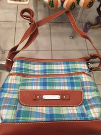 blue, brown, and white plaid leather crossbody bag