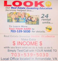 Real Estate investor, earn while you learn Fairfax