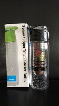 White and black Selma sipper tritan infuser bottle with box Vancouver