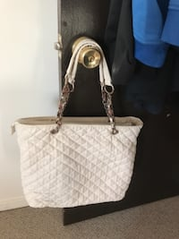 Women's white leather shoulder bag