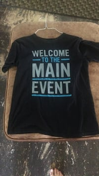 black Welcome to the Main Event crew-neck t-shirt