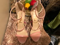 pair of pink leather peep-toe platform stilettos Kitchener, N2M 3B1