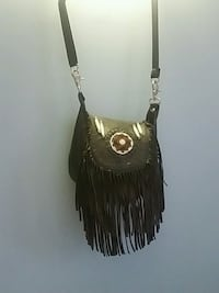 Black leather fringe purse