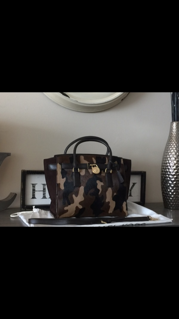0c9ae46ebe49fc Used Authentic Michael Kors Large Hamilton Traveler Camouflage Haircalf Leather  Tote for sale in Richmond - letgo